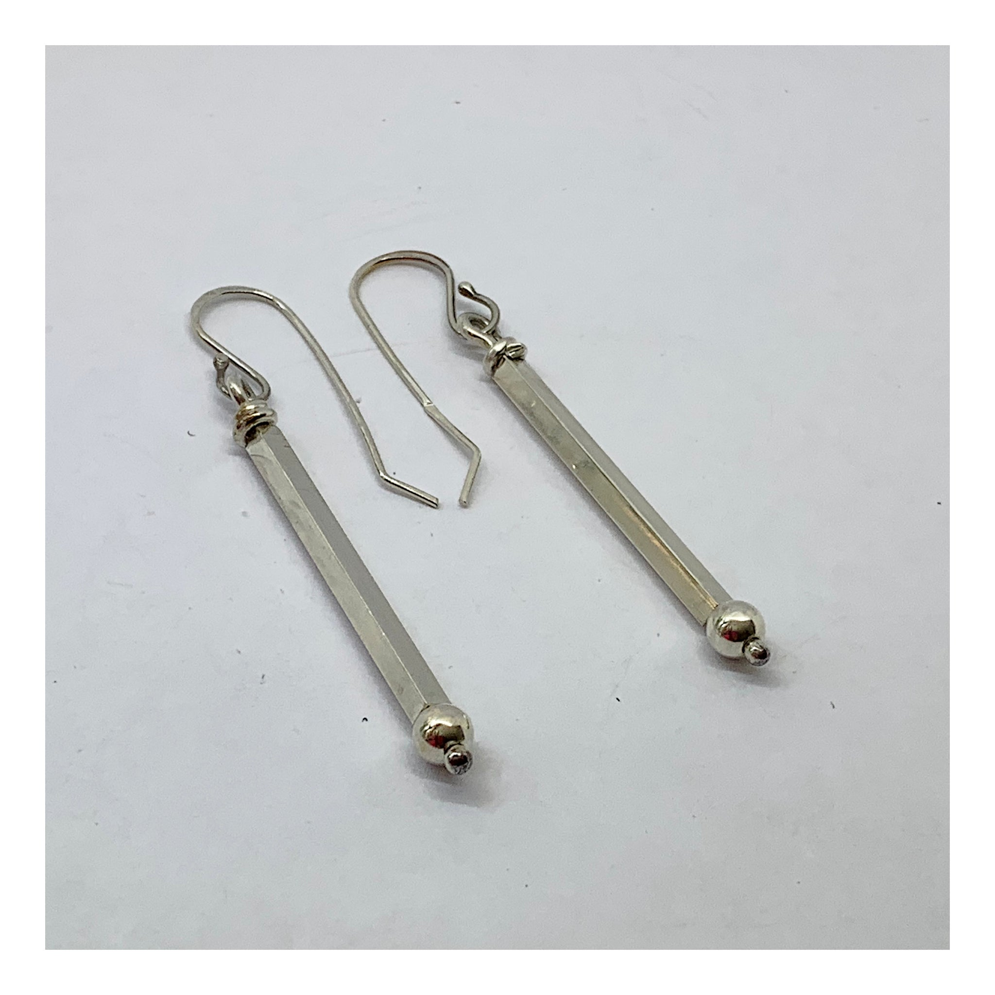 Square Tube Earrings - Silver Bar Collection - AMaryThought Wholesale