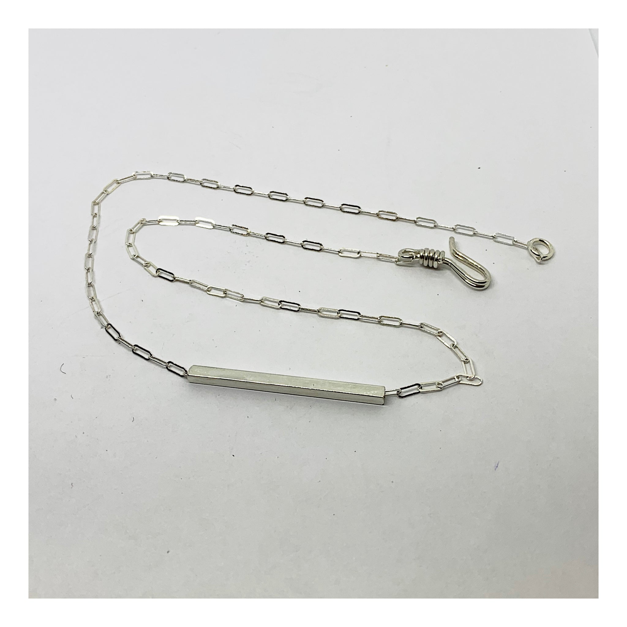 Sterling 925 Silver Horizontal Bar Necklace - Silver Bar Collection - AMaryThought Wholesale