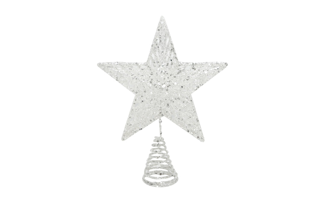 WHITE STAR TREE TOPPER WITH IRIDESCENT GLITTER
