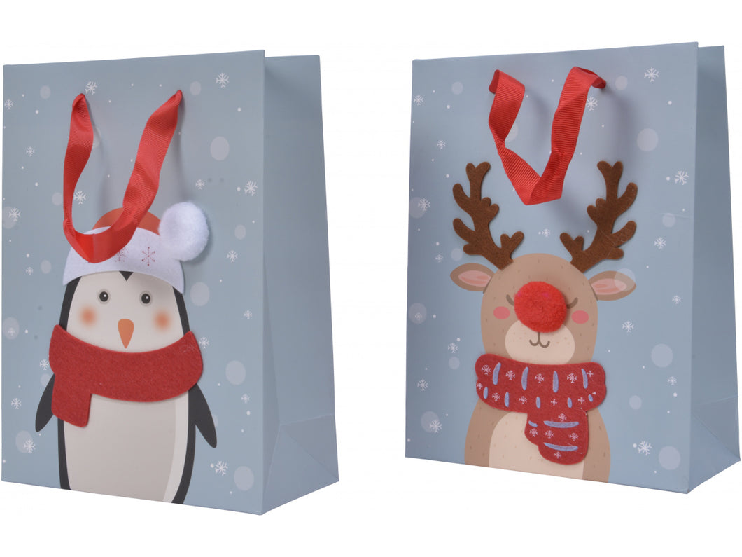 LARGE FELT PENGUIN OR DEER GIFT BAG