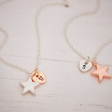 Silver Plated Heart/Star Necklace