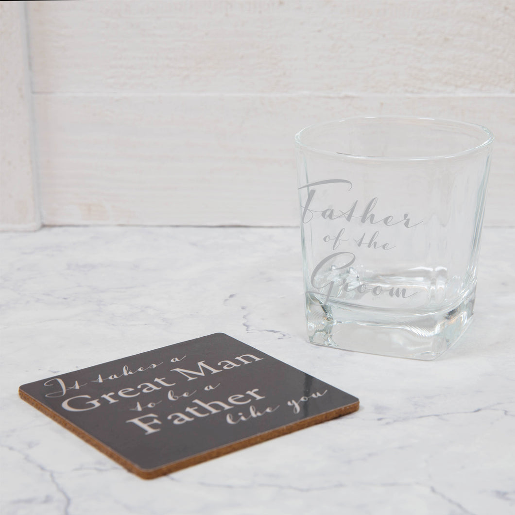 WHISKY GLASS & COASTER SET - FATHER OF THE GROOM
