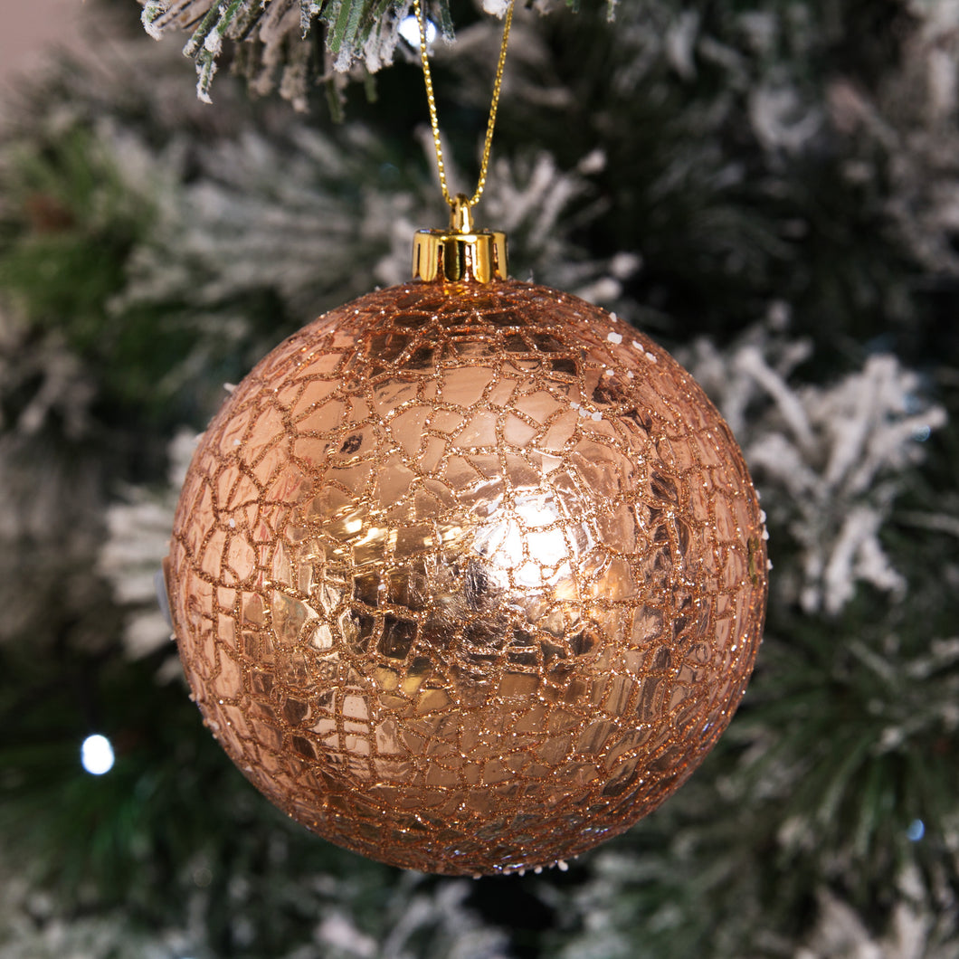 Round Rose Gold Crackle Tree Ornament Ambience Home Surrey