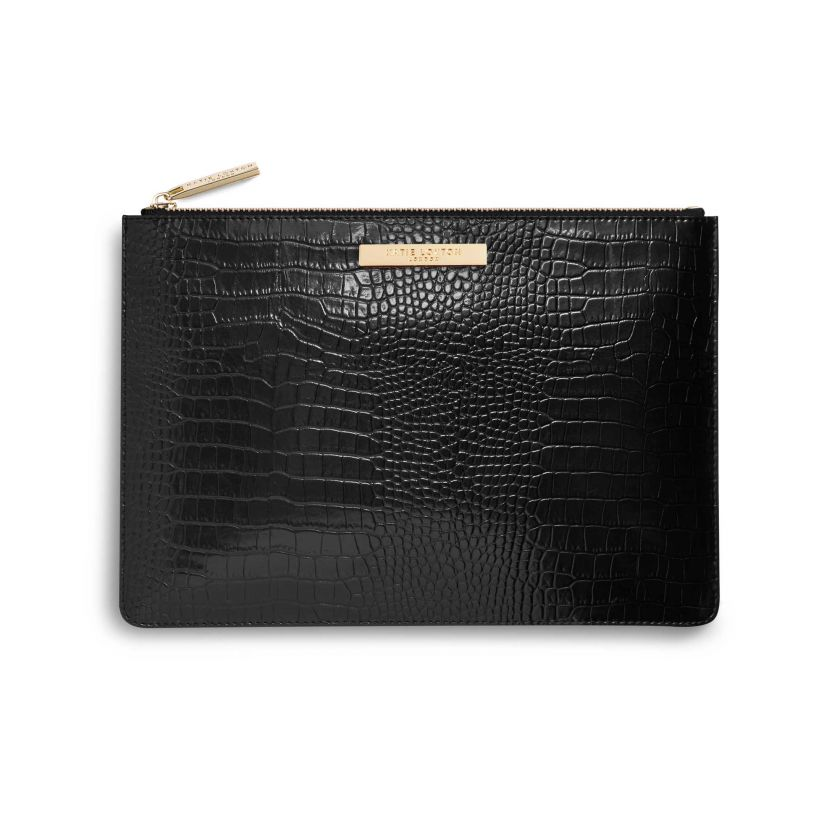 FAUX CROC LARGE CLUTCH BAG