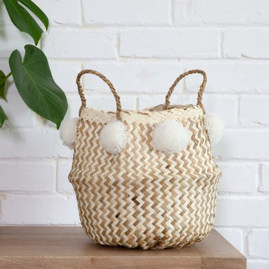 MONOCHROME BELLY BASKET WITH POMPOMS - WHITE