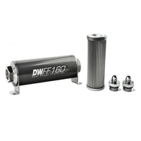 DeatschWerks Stainless Steel 6AN 10 Micron Universal Inline Fuel Filter Housing Kit (160mm)