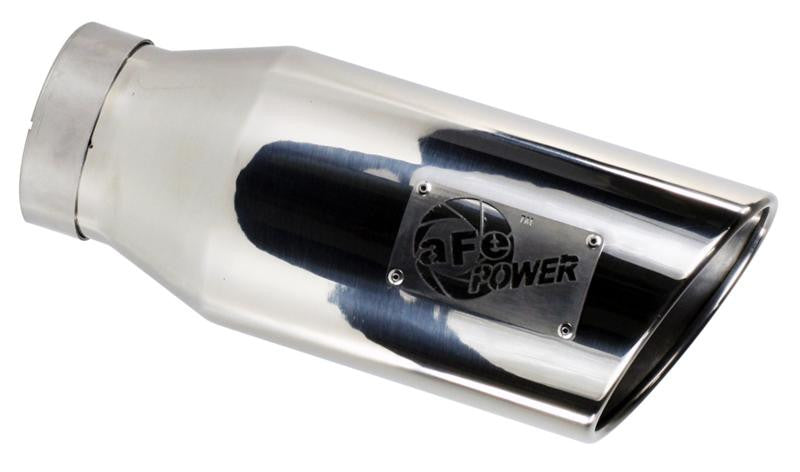 aFe MACHForce XP Exhausts Tips SS-304 EXH Tip 4In x 6Out x 15L Bolt-On (blk chrome)