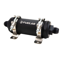 Fuelab PRO Series In-Line Fuel Filter (10gpm) -10AN In/-12AN Out 100 Micron Stainless - Matte Black