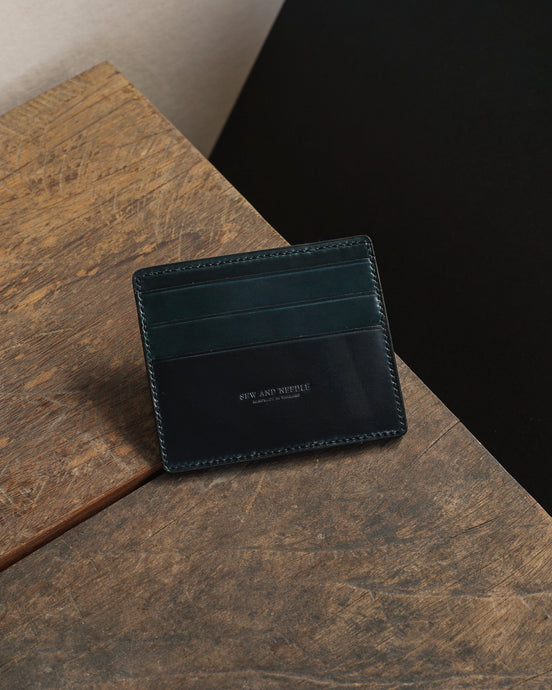 Shell Cordovan card Case Wallet - Navy