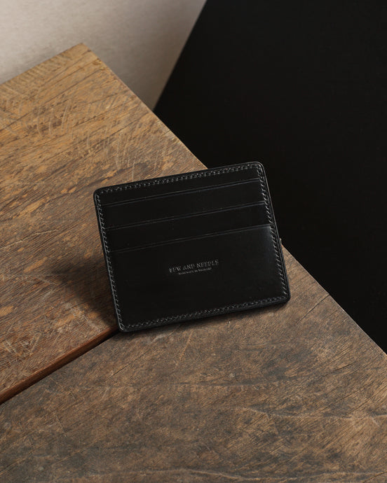 Shell Cordovan card Case Wallet - Black