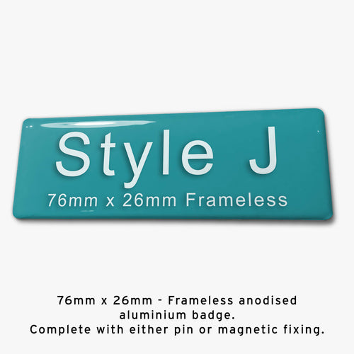 Frameless Custom Staff Name Badge Style J