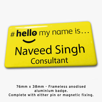 Frameless hello my name is badge Style H yellow