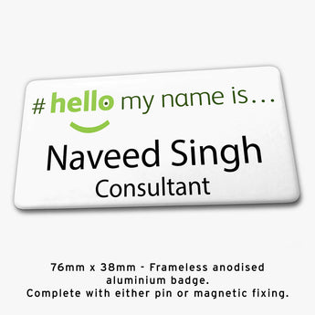 Frameless hello my name is badge Style H