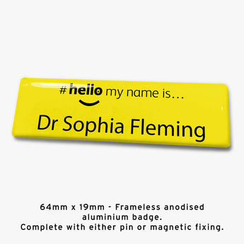 Frameless hello my name is badge Style I yellow