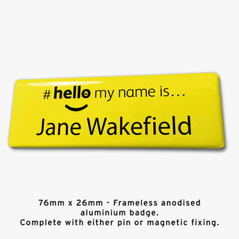 Frameless hello my name is badge Style J yellow