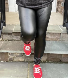 Follow Suit Black Faux Leather Leggings