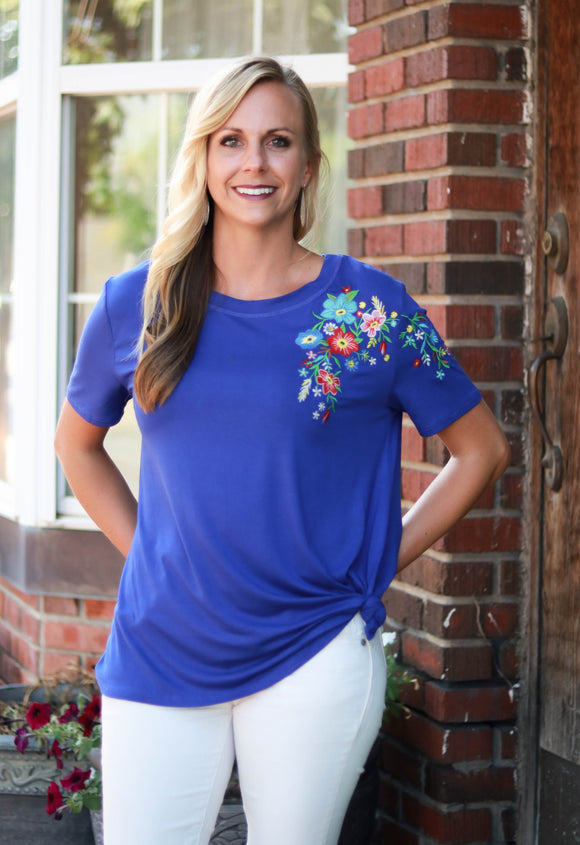 Royal Blue Embroidered Top