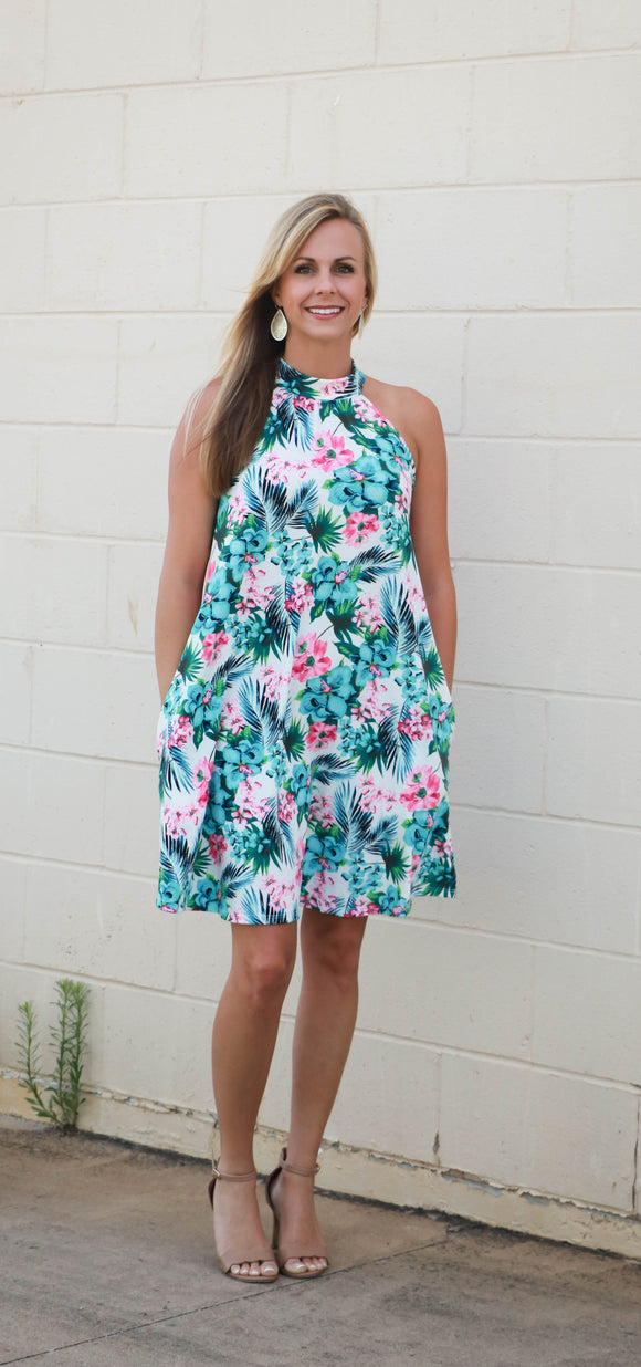 Tropical Halter Dress - Velvet Crown Boutique