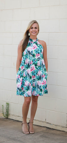 Tropical Halter Dress