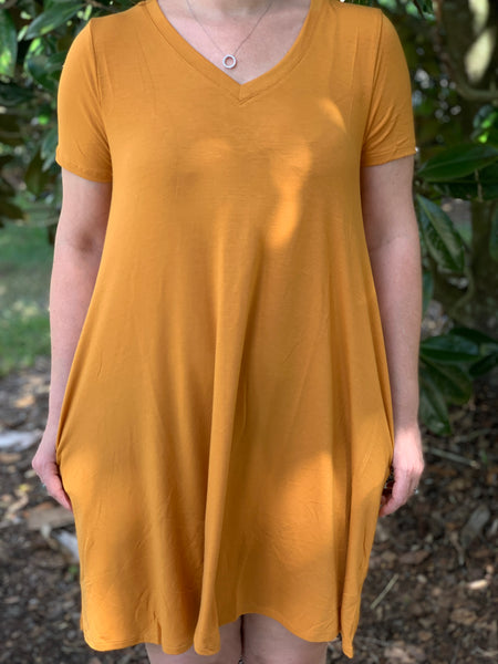 Hay There Tshirt Dress - Mustard - Velvet Crown Boutique