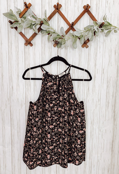 Black Floral Tank - Velvet Crown Boutique