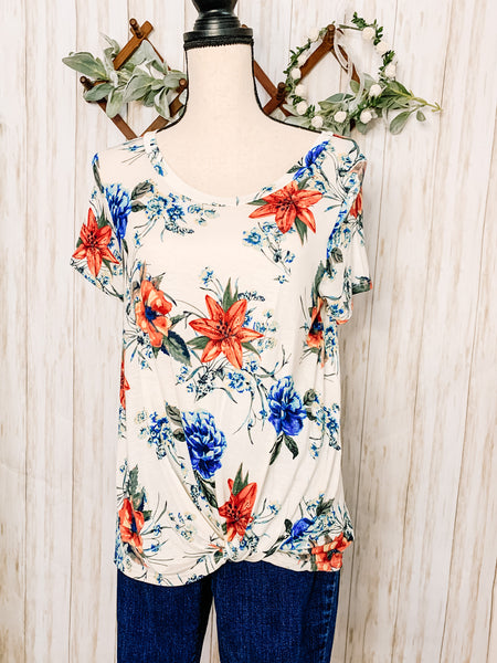 White Floral Top - Velvet Crown Boutique