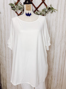 White Ruffle Top - Plus Size - Velvet Crown Boutique