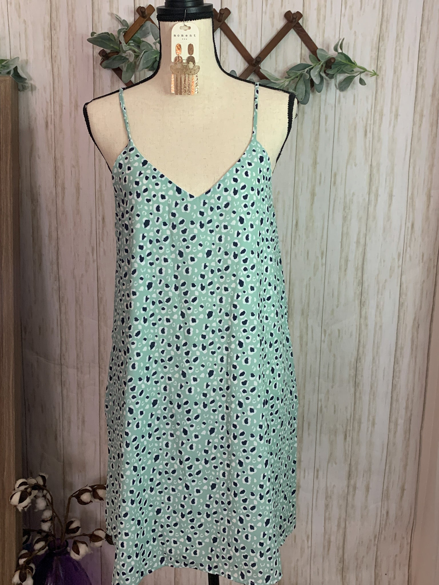 Mint & Navy Leopard Dress - Velvet Crown Boutique