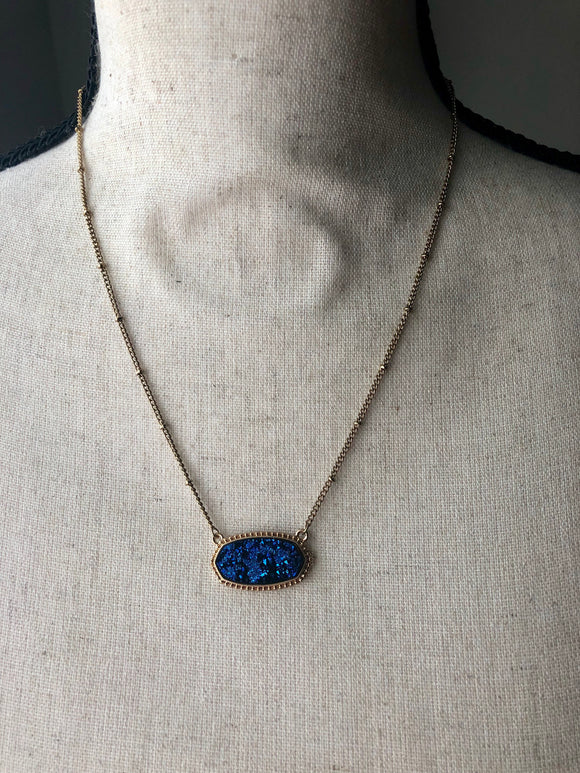 Blue Druzy Hexagon Necklace