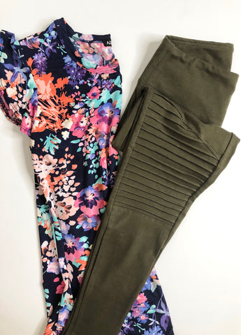 Never Give Up Moto Leggings Olive
