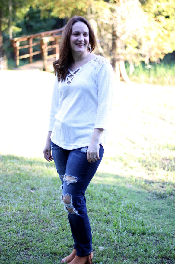 White Denim Top - Velvet Crown Boutique