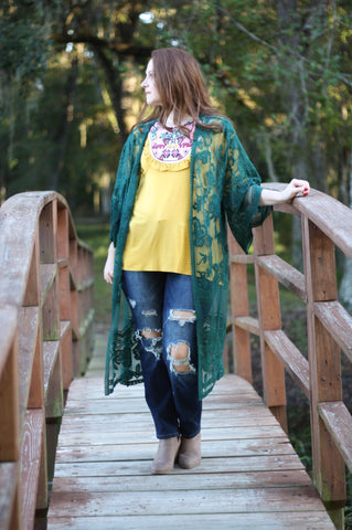 Forest Nights Lace Duster