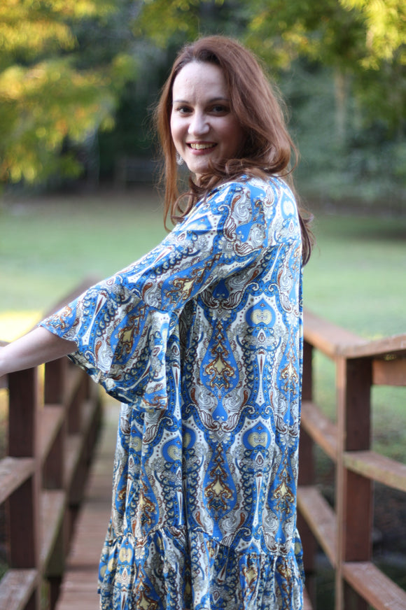 Blue Mix Dress - Velvet Crown Boutique