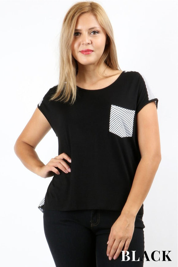 Black and White Stripe Tee - Velvet Crown Boutique