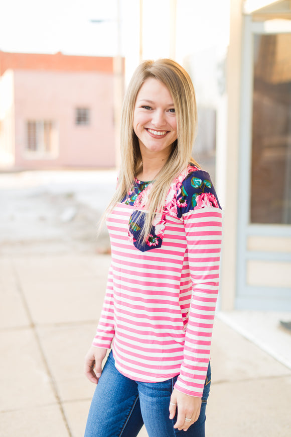 Pink Stripe Floral Top