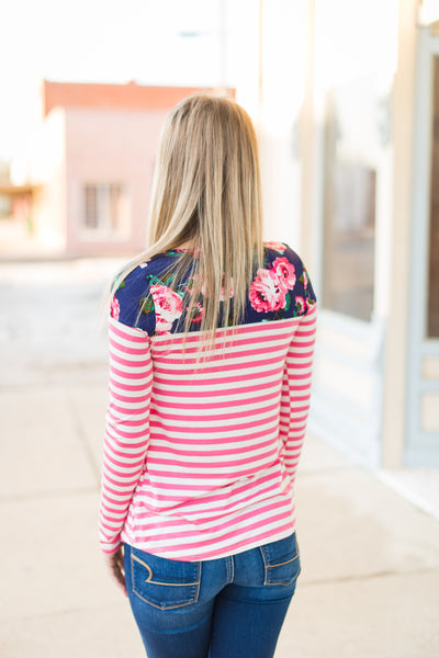 Pink Stripe Floral Top - Velvet Crown Boutique