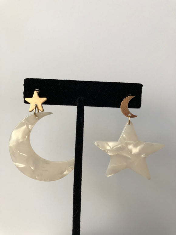 White Stars and Moon Acrylic Earrings