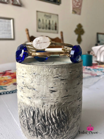 Sapphire & White Bangle Set