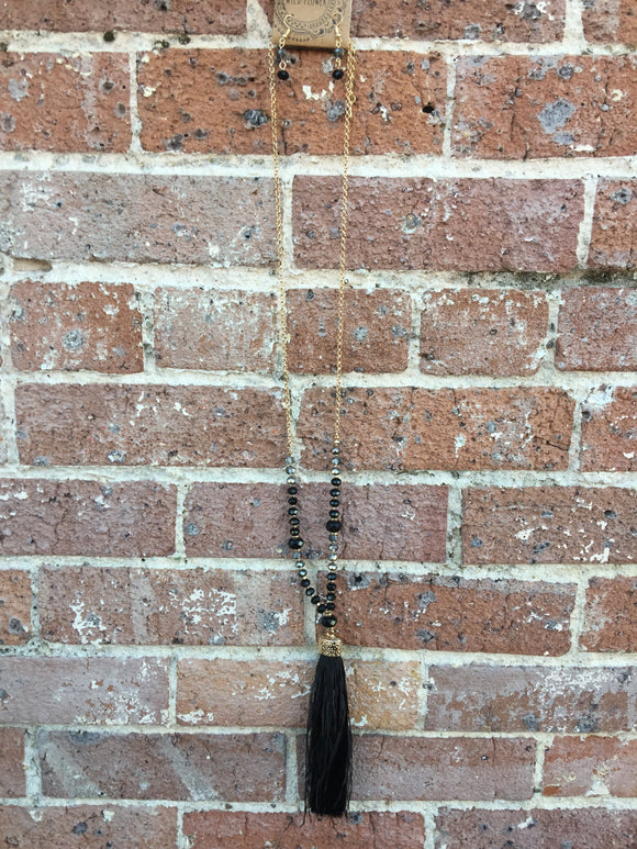 Black & Grey Tassel Necklace Set