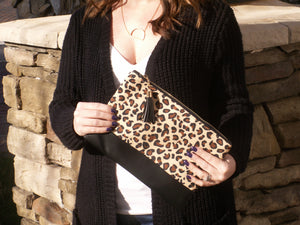 Exclusive Black Leopard Clutch