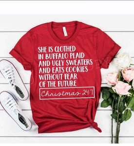 She Is Clothed Christmas Tee