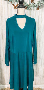 Teal Long Sleeve Dress