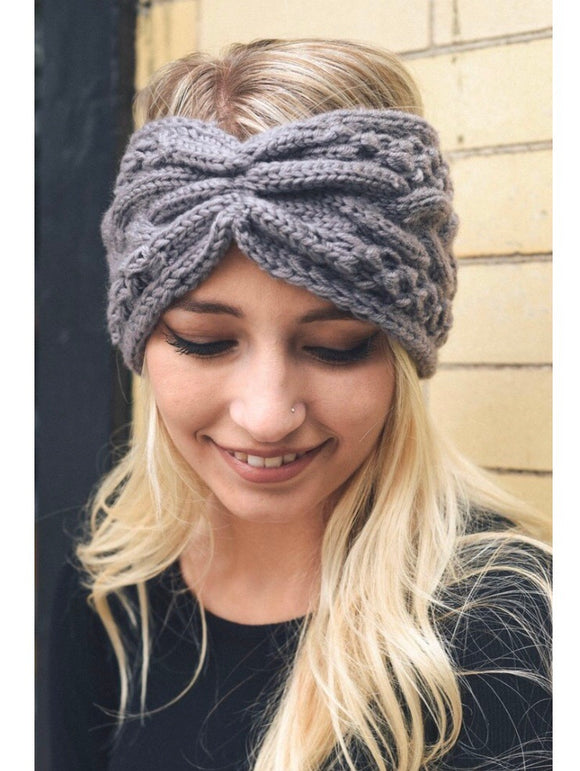 Gray Cable Knit Headband