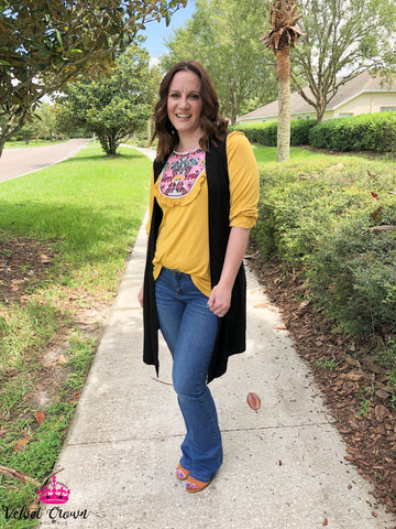 Forever Mustard Embroidered Top - Velvet Crown Boutique