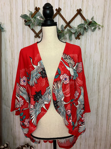 Crazy in Love Cranes Kimono Red - Velvet Crown Boutique