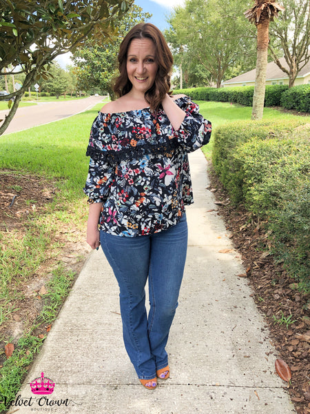 Black Floral Off The Shoulder - Velvet Crown Boutique