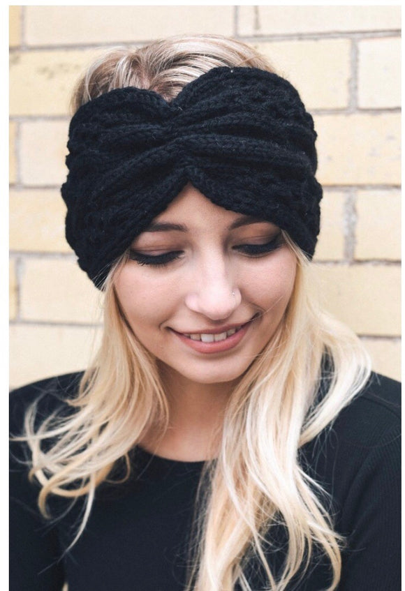 Black Cable Knit Headband