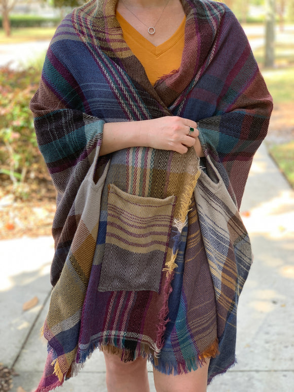 Camel Plaid Poncho - Velvet Crown Boutique