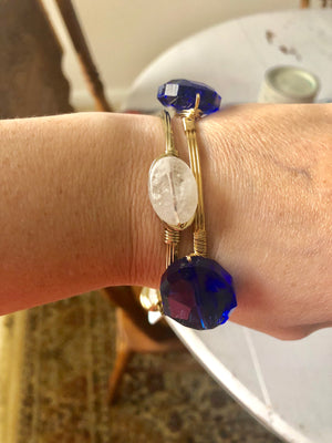 Sapphire & White Bangle Set - Velvet Crown Boutique