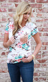 Ivory Glitter Pocket Tee - Velvet Crown Boutique